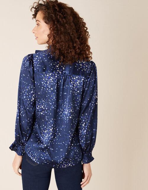 Star Print Satin Blouse, Blue (NAVY), large