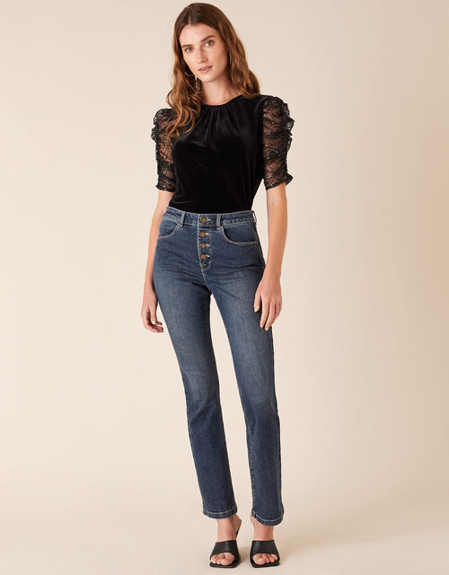 Victoria Sequin Sleeve Stretch Velvet Top, Black (BLACK), large