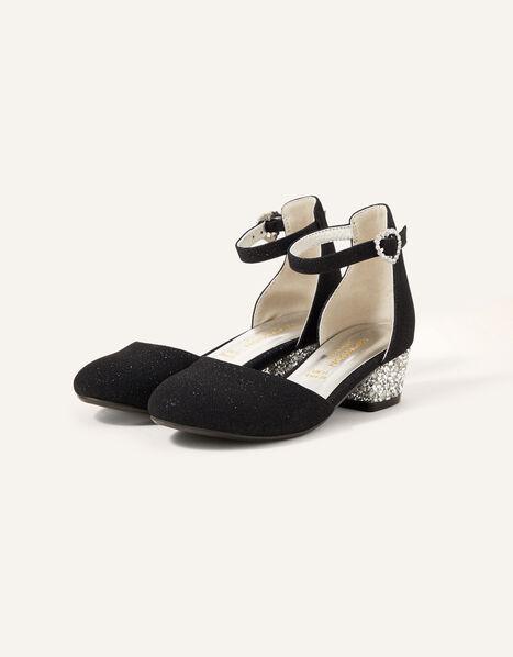 Shimmer Two-Part Heeled Shoes Black, Black (BLACK), large