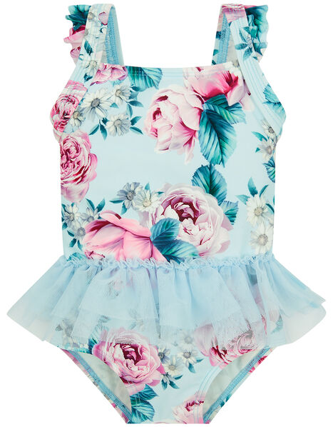 Baby Floral Skirted Swimsuit Blue, Blue (BLUE), large