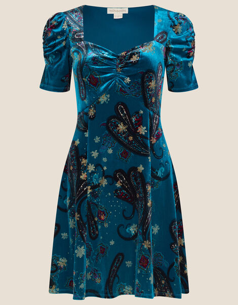 Rowan Paisley Short Velvet Dress  Teal, Teal (TEAL), large