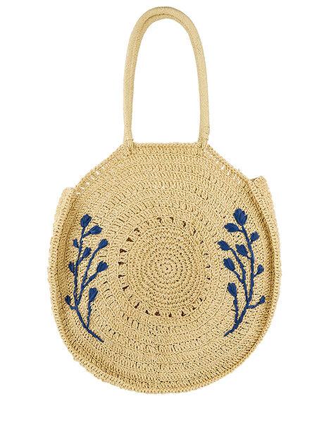 Florence Embroidered Straw Shoulder Bag, , large