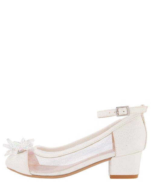 Princess Crystal Shimmer Heeled Shoes, Ivory (IVORY), large