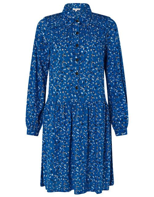 Suki Printed Shirt Dress with Organic Cotton, Blue (BLUE), large