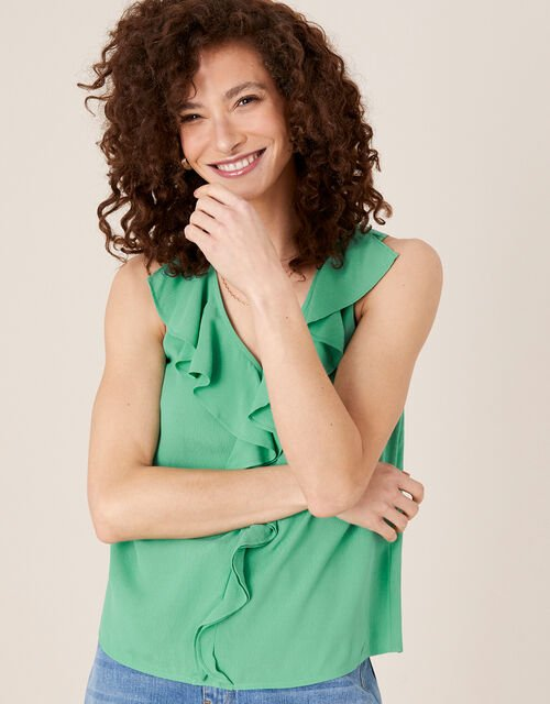 Ruffle Short Sleeve Blouse, Green (GREEN), large