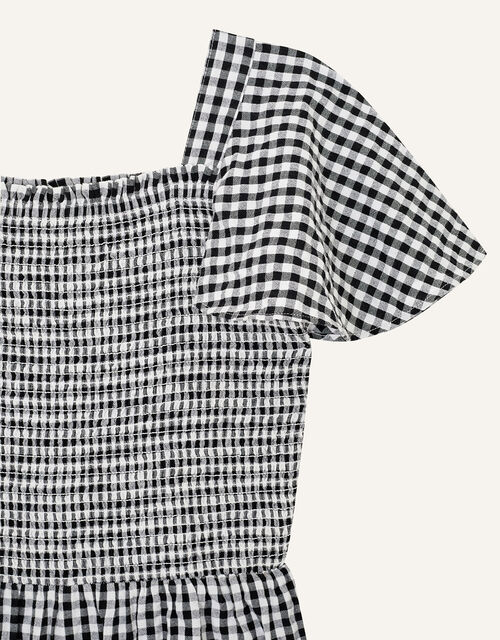 Gingham Shirred Jumpsuit , Black (BLACK), large