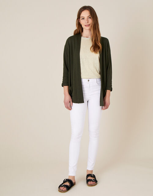 Bonnie Button Cover-Up in Linen Blend , Green (KHAKI), large