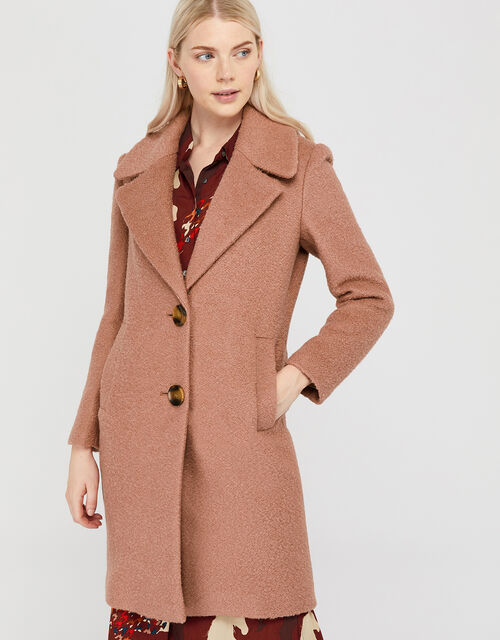 Billie Boucle Coat in Wool Blend, Soft Pink, large