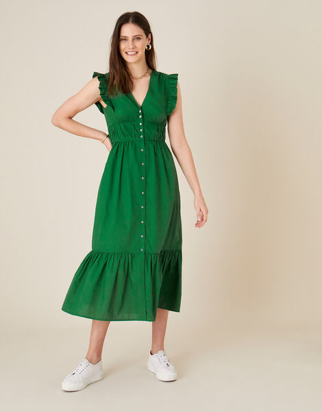 Tiered Midi Dress in Pure Cotton Green, Green (GREEN), large