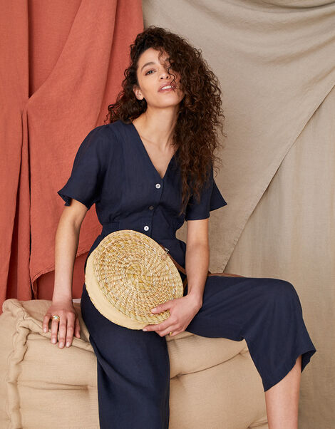 Poppy Cropped Jumpsuit in Pure Linen Blue, Blue (NAVY), large