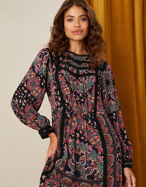 Lace Trim Printed Midi Dress Black, Black (BLACK), large