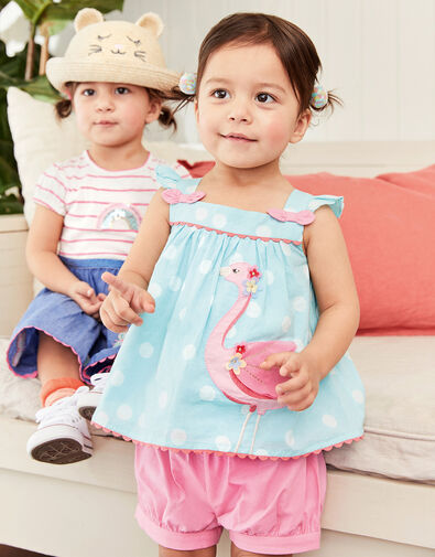 Baby Flamingo Top and Shorts Set Green, Green (MINT), large