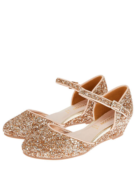 Olivia Glitter Wedges Gold, Gold (ROSE GOLD), large