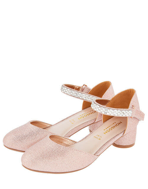 Diamante Strap Two-Part Heeled Shoes, Gold (ROSE GOLD), large