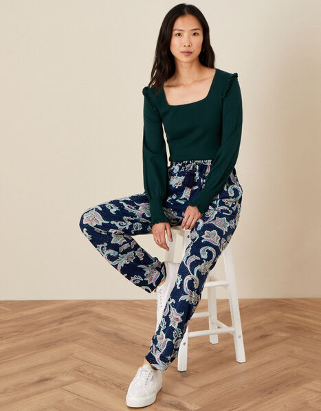 Paisley Print Jersey Trousers Blue, Blue (NAVY), large