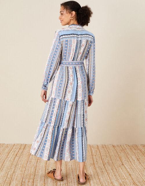 Patch Print Stripe Shirt Dress, Blue (BLUE), large
