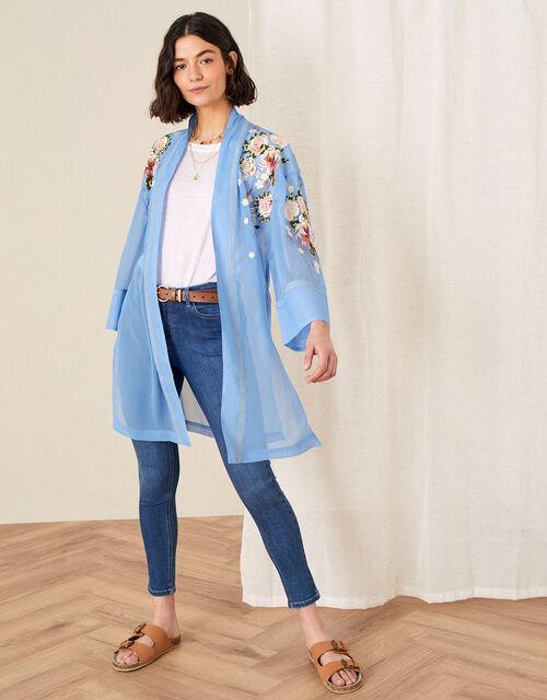 Sheer Embroidered Longline Kimono , Blue (BLUE), large