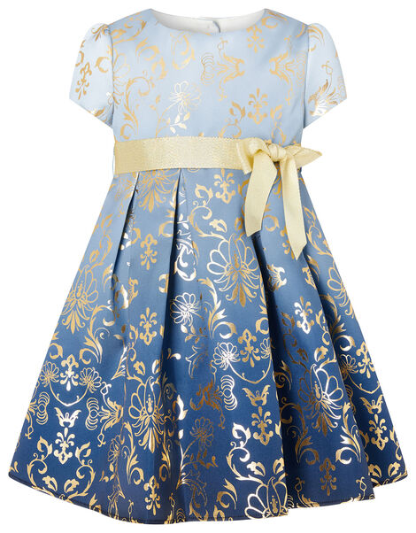 Baby Macey Ombre Blue Foil Print Dress Blue, Blue (BLUE), large