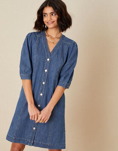 Puff Sleeve Denim Dress Blue, Blue (DENIM BLUE), large