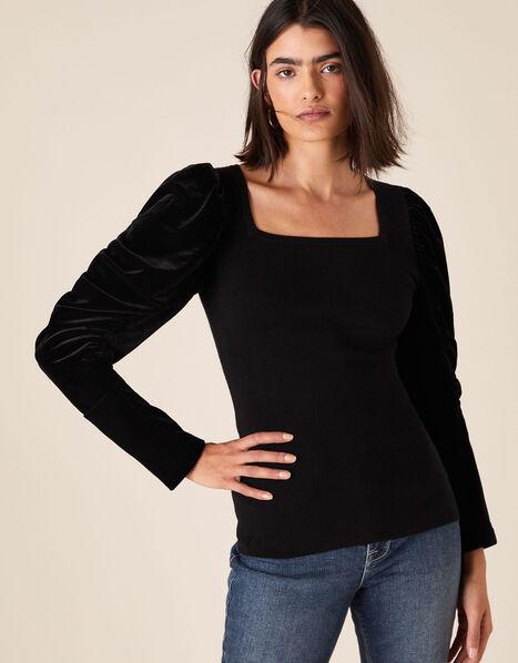 Velvet Sleeve Jumper Black, Black (BLACK), large