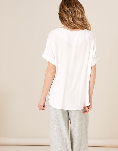 LOUNGE Mary Woven and Jersey Top, Ivory (IVORY), large