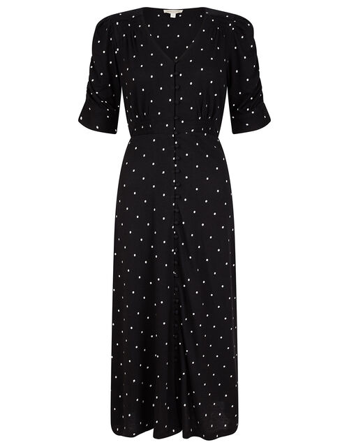 Spot Jersey Midi Dress with Organic Cotton, Black (BLACK), large