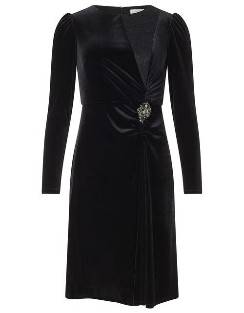 Hannah Crystal Brooch Stretch Velvet Dress, Black (BLACK), large