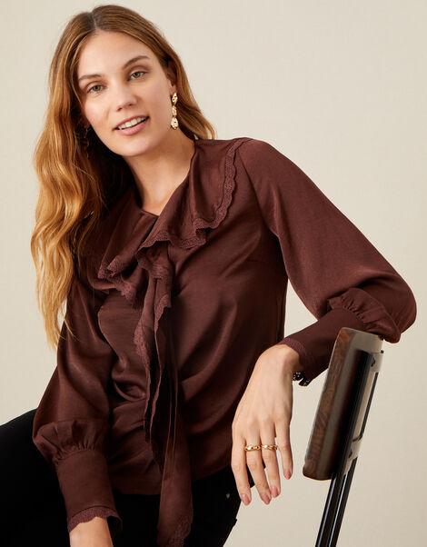 Quinn Ruffle Satin Long Sleeve Blouse Brown, Brown (CHOCOLATE), large