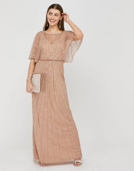 Angelina Beaded Maxi Dress Pink, Pink (PINK), large