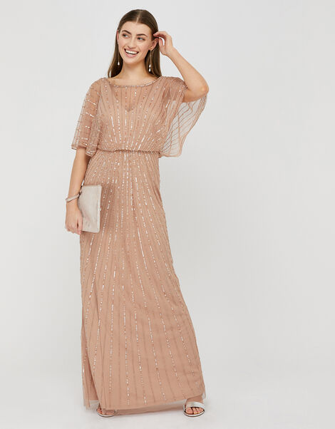 Angelina Beaded Maxi Dress Pink, Pink (PINK), large