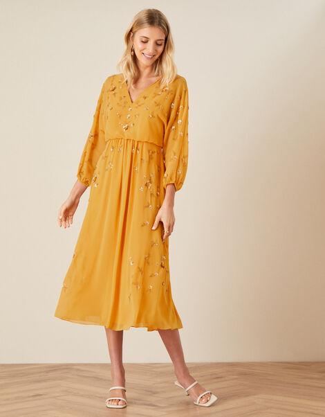 Danni Sequin Dress Yellow, Yellow (OCHRE), large