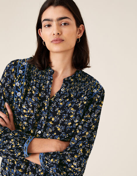 Ditsy Floral Top in LENZING™ ECOVERO™ Blue, Blue (NAVY), large