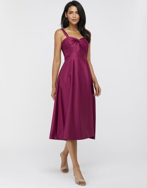 Savannah Twist Neck Satin Midi Dress Pink, Pink (ROSE), large