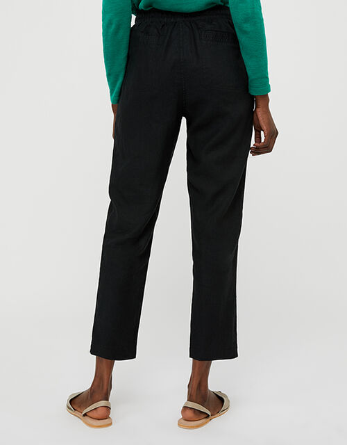 Lightweight Joggers in Pure Linen, Black (BLACK), large