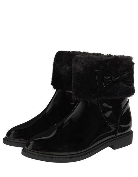Fluffy Trim Patent Ankle Boots Black, Black (BLACK), large