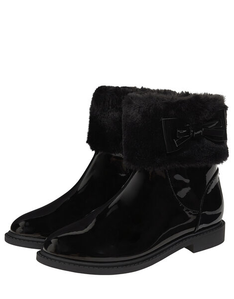 Fluffy Trim Patent Ankle Boots Black, Black (BLACK), large