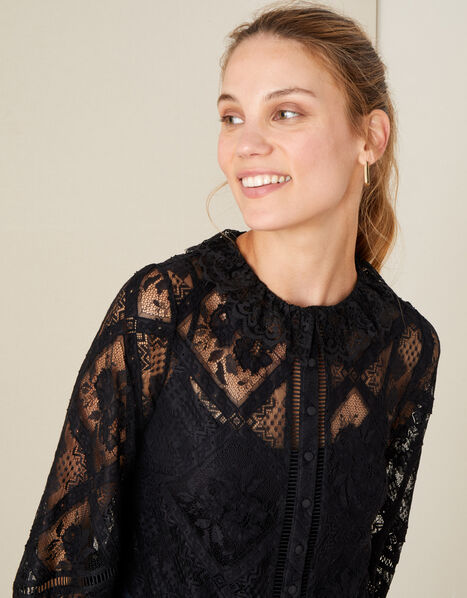 Leila Collared Lace Blouse Black, Black (BLACK), large