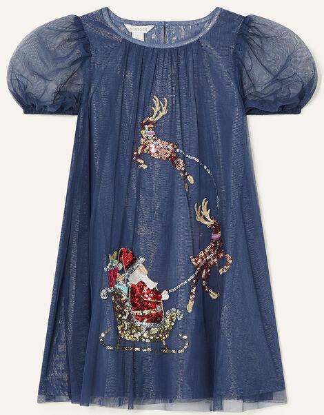 Sleigh Sequin Trapeze Dress Blue, Blue (NAVY), large
