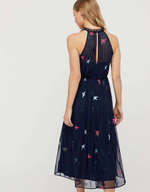 Marigold Embroidered Swallow Midi Dress, Blue (NAVY), large