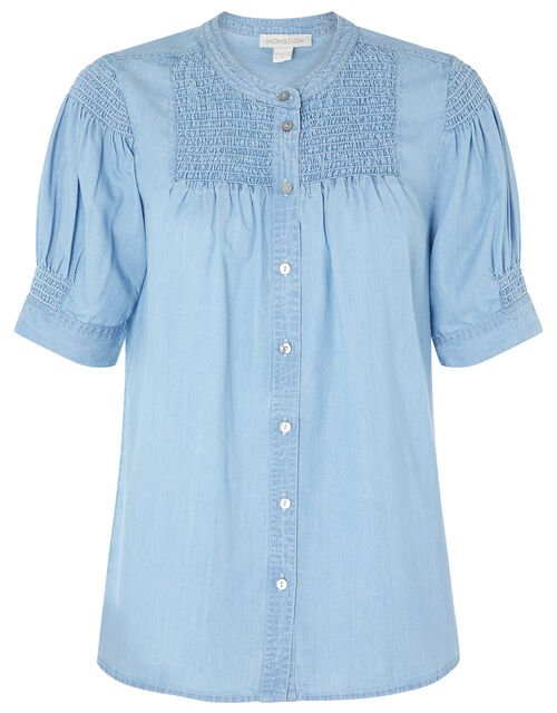 Evie Shirred Blouse in LENZING™ TENCEL™, Blue (DENIM BLUE), large