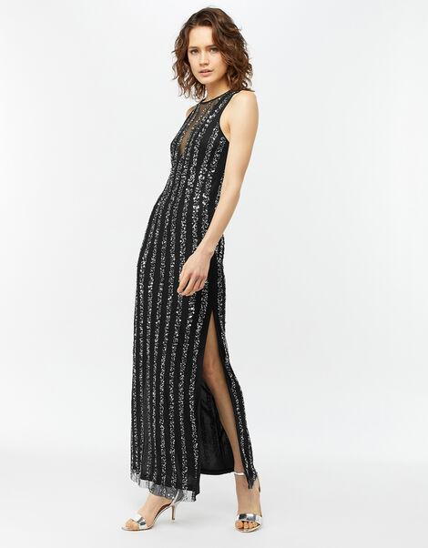 Rosie Linear Sequin Maxi Dress Black, Black (BLACK), large