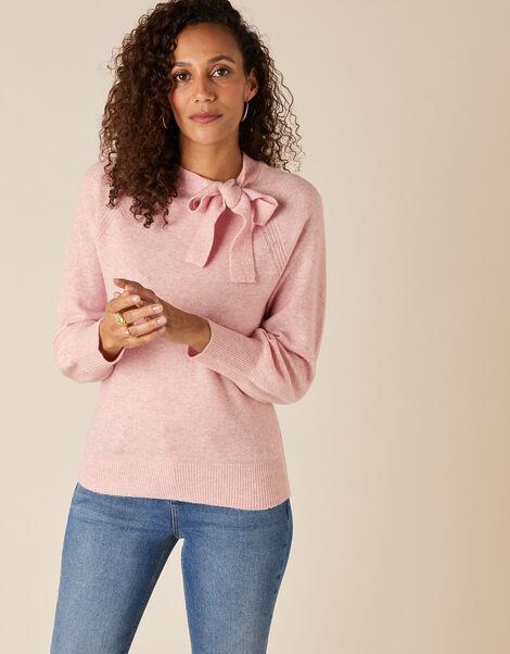 Tie Neck Knit Jumper Pink, Pink (BLUSH), large