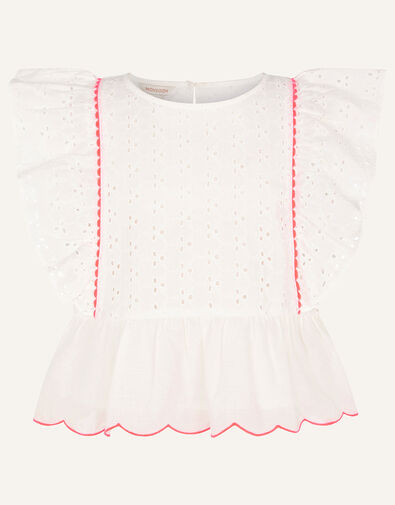 Frill Broderie Top Ivory, Ivory (IVORY), large