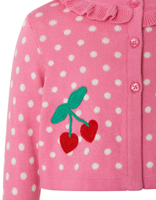 Baby Cherry Knitted Cardigan, Pink (PINK), large