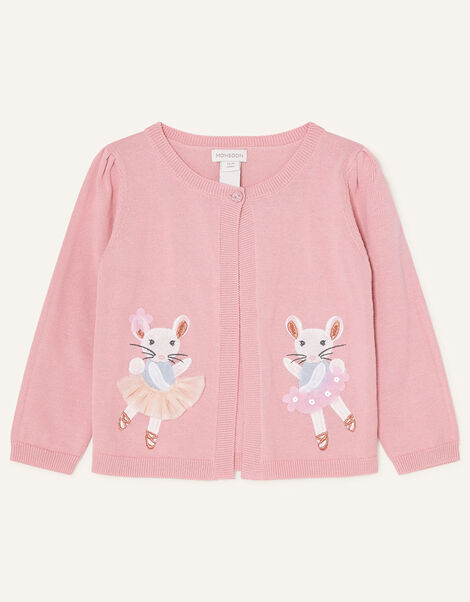 Baby Embroidered Mice Cardigan Pink, Pink (PINK), large