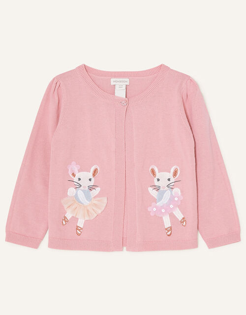 Baby Embroidered Mice Cardigan, Pink (PINK), large