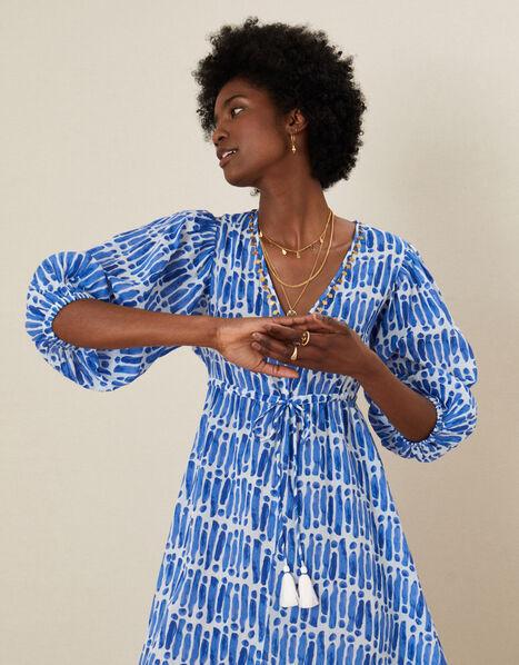 Benita Printed Maxi Dress Blue, Blue (BLUE), large