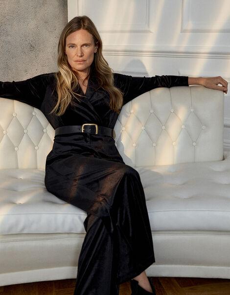 Sheena Stretch Velvet Wide-Leg Jumpsuit Black, Black (BLACK), large