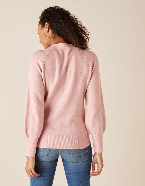 Tie Neck Knit Jumper, Pink (BLUSH), large