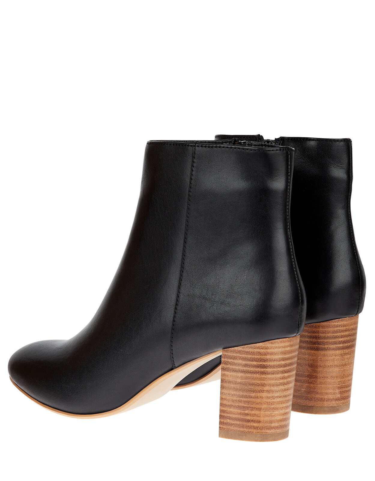 Stacked Heel Leather Ankle Boots Black
